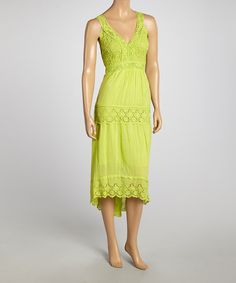 Lime Green Crochet Tiered Maxi Dress by SR Fashions #zulily #zulilyfinds
