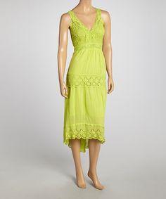 Lime Green Crochet Tiered Maxi Dress by SR Fashions #zulily #zulilyfinds