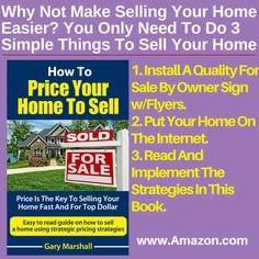 The most unique and comprehensive information you will ever read on the psychology of pricing your home correctly and the affects price can have on selling a home.  An incorrectly overpriced home will not sell. The book is razor sharp focused on how to avoid costly home pricing mistakes, how to determine a home's fair market value, and how to properly use strategic home pricing strategies to ramp up your home selling efforts. www.Amazon.com/dp/B00WR8IORY