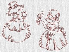sunbonnet sue embroidery patterns | Vintage Sunbonnet Sue Girls Redwork Machine Embroidery Designs
