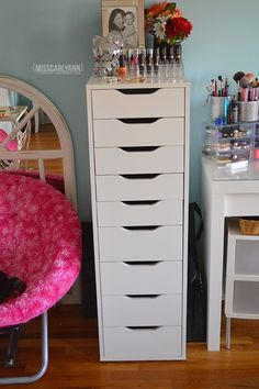 Alex drawers from IKEA. Great for makeup storage.
