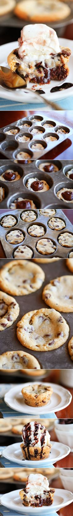 DANGER DANGER --> Deep Dish Chocolate Chip Molten Lava Cookies // so easy, made in a muffin tin #decadent #snackattack