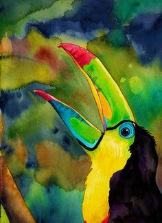 Print transcendant de Toucan (aquarelle psychédélique du chant d'oiseau exotique coloré dans la Jungle)