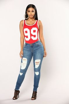 449b44becb Fine Like 99 Bodysuit - Red Morena Linda