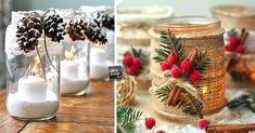Riciclare i barattoli di vetro per decorare a Natale. Ecco per voi oggi un raccolta di 20 idee creative per decorare in tema natalizio i barattoli di vetro! Christmas Crafts, Christmas Decorations, Table Decorations, Christmas Ornaments, Shabby Chic Jars, Vase Crafts, Vinyl Projects, Reuse, Decorative Accessories