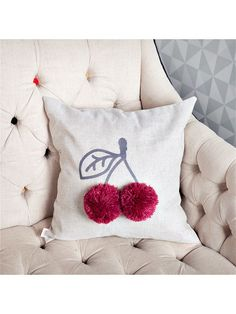 Cheery cushion must try diy Cute Pillows, Diy Pillows, Decorative Pillows, Throw Pillows, Cushions, Sewing Crafts, Sewing Projects, Cushion Cover Designs, Diy Cushion