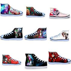 High Top Canvas Shoes Casual  Harley Joker Print //Price: $48.98 & FREE Shipping //     #dccomics  #cosplay  #catwoman #comiccon #comics #love #quinn #justiceleague #makeup Captain Boomerang, Killer Croc, Deadshot, Lace Up Flats, Harley Quinn, Superman, Casual Shoes, High Tops, High Top Sneakers
