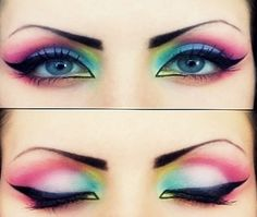 fashion, make-up, eyes, eyeshadow, rainbow