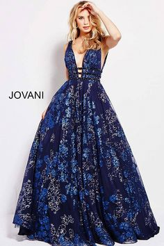 JOVANI 2018   Navy Glitter Embellished Plunging Neckline Prom Ballgown 52143 #prom2018