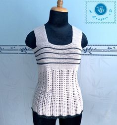 Crocheted wide strap tank top by BeACrafterxD on Etsy