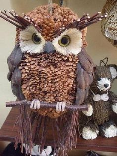 pinecone owl ornament: