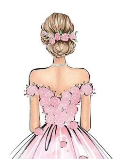 27 Bridal Illustrations From Popular Dress Designers Bridal illustrations of your wedding gown is the best way to save good memories for a long time. Turn your wedding photos into a personalized artwork. Girl Drawing Sketches, Cute Girl Drawing, Girly Drawings, Fashion Illustration Dresses, Cute Girl Wallpaper, Fashion Design Sketches, Cartoon Art, Art Girl, Fashion Art