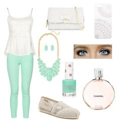 """Spring"" by mariak29 ❤ liked on Polyvore featuring French Connection, TOMS, Betsey Johnson, Monika Strigel, Topshop and Chanel"