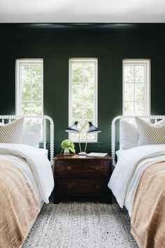 White And Pink Bedding, Mint Green Bedding, Oak Bunk Beds, White Bunk Beds, White Twin Headboard, Green Painted Walls, Green Walls, Headboard With Shelves, Neutral