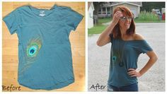 for the birds: No Sew Refashion: Off-Shoulder Tee