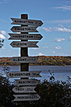Where am I?  --  The fall foliage and the Hudson River provide a nice backdrop for this signpost in the Esopus Meadows Preserve (Esopus, N.Y.). -- October 20, 2012.