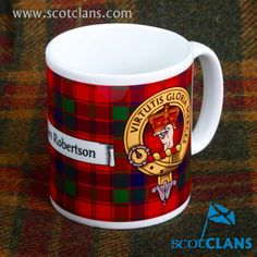 Robertson Clan Crest and Tartan Mug. Free worldwide shipping available