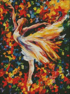 The Beauty of Dance - Counted Needle Point and Cross Stitch Chart Patterns and www.etsy.com/listing/242120443.  Original Artist: Leonid Afremov