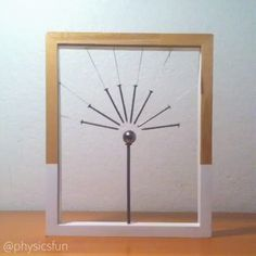 Magnetic Field Lines Sculpture: nails suspended by thin chain point in the direction of the magnetic field of a neodymium dipole magnet. Ferromagnetic substances (such as the iron in nails) become temporary magnets when in the presence of an external magn