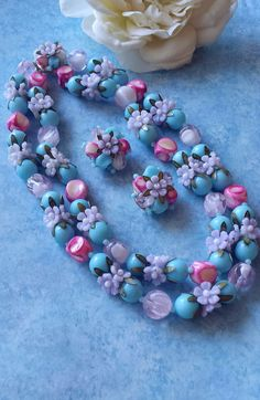 Blue Pink Flower Necklace & Earrings Plastic by TheWildVintageRose