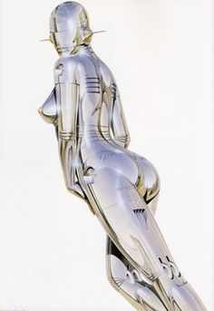 Robot girl- Gynoid (Hajime Sorayama ) Retro Futurism ~ this is an air-brush painting not digital!