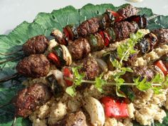 Za'atar Lamb Meatball Skewers with Zucchini, Red Pepper and Onion - 10 Weight Watchers Points