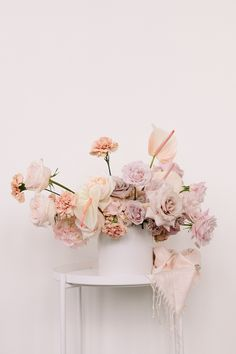 A Modern Romance Modern Wedding Flowers, Blush Wedding Flowers, Blush Pink Weddings, Flower Bouquet Wedding, Floral Wedding, Pink Flower Arrangements, Wedding Arrangements, Floral Centerpieces, Wedding Centerpieces