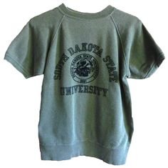 vintage mens womens sportswear by collegiate worn army green south dakota state short sleeve sweater pullover university 1881 cotton medium by VELVETMETALVINTAGE on Etsy