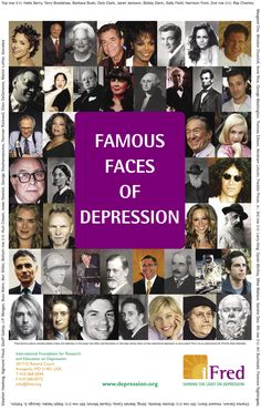 It's easy to mistake them as having it all, but behind the closed doors of those mansions, are hiding famous people with depression and anxiety disorders! Mental Health Issues, Mental Health Awareness, Depression Awareness Month, Dealing With Depression, Battling Depression, Stress, Bipolar Disorder, Mental Disorders, Yoga
