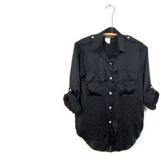 80s BLACK Button Up Silk Blouse Military Button Down Silk Shirt... (24.135 CLP) ❤ liked on Polyvore featuring tops, blouses, military style shirts, silk button up shirt, shirt blouse, button up shirts and epaulet shirt