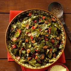 Bacon Collard Greens Recipe -A staple of Southern cuisine, these collard greens are tossed with smoked bacon for one incredible side dish. —Marsha Ankeney, Niceville, Florida