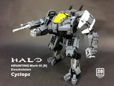 HALO Cyclops | Cyclops is the Hrunting Mk.III Exoskeleton from HALO WARS. It's originally used to be an engineering mecha, then became a marines mecha in the game. This creation is referred to HALO WARS 2 version, which is with autocannon mounted on its right arm.  It is not a common mecha compared to Gundam, but more similar to Matrix APU. The shape is like giant as its name without head, instead it has a big eye, its cockpit window screen.