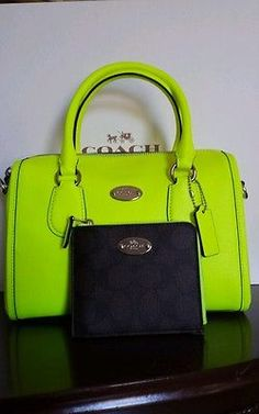NEW COACH WALLET HANDBAG SET. Mini Bennett Satchel Cross body in SV/neon yellow.