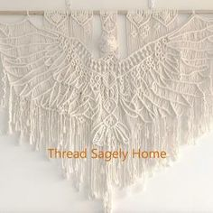 Angel Wings Pattern/Tutorial   Etsy Macrame Wall Hanging Patterns, Macrame Patterns, Flower Patterns, Pattern Flower, Macrame Knots, Macrame Art, Macrame Design, Macrame Projects, Craft Projects