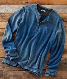 Deep sea blues fade in and out on this richly textured jersey henley, Watermark Henley from Carbon2Cobalt