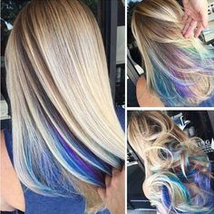 Hidden multi colored layer on bottom of hair.