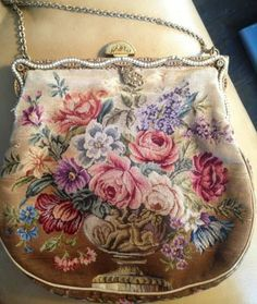 Antique Vintage Needlepoint Tapestry Roses Floral Ladies Purse -- Nice! | eBay/$26