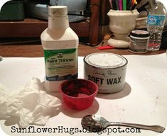 """making a """"glaze"""" with mineral spirits and dark wax.....SunflowerHugs: Dark Waxing Made Easy"""