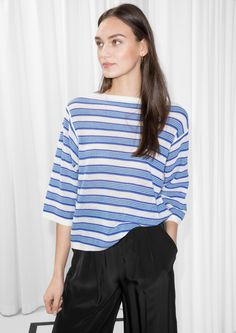 Other Stories image 2 of Striped Oversized Top in Blue