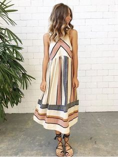 Women's fashion - Summer dress. Love this look - Girl's got style. Coral, grey and white striped midi dress.