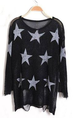 Black Star Print Long Sleeve Ripped Distressed Jumper