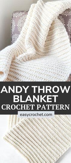 Crotchet Blanket, Crochet Throw Pattern, Easy Crochet Hat, Easy Crochet Stitches, Chunky Crochet, Afghan Crochet Patterns, Free Crochet, Crochet Afghans, Crochet Ideas