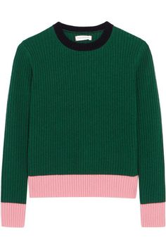 CHINTI AND PARKER Color-block ribbed wool and cashmere-blend sweater. #chintiandparker #cloth #knitwear