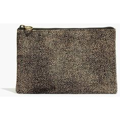 MADEWELL The Pouch Clutch in Spotted Calf Hair (€44) ❤ liked on Polyvore featuring bags, handbags, clutches, espresso bean, calf hair tote, madewell tote, brown tote, tote handbags and handbag tote