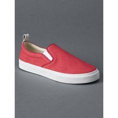 Gap Women 1969 Denim Slip On Sneakers (1057940 BYR) via Polyvore featuring shoes, sneakers, buoy red, regular, slip on sneakers, round toe sneakers, round cap, denim shoes и denim sneakers