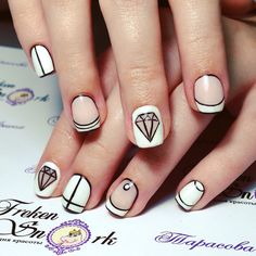 #nails #manicure #diamondd #white #whitenails #balck_and_white #cartoon #cartoonnails #comicsnails #french
