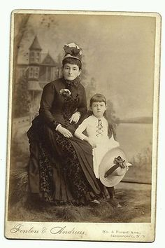 Vintage Photo Cabinet Card Cute Mother Daughter Hats Fenton Andruss Jamestown NY | eBay