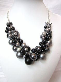 Reserved for Denah - Set of 8 Bridesmaids -Pearl Cluster Necklaces in Shades of Gray and Black