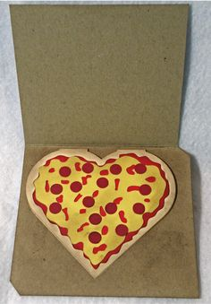 A pizza valentine - click thru for instructions. Pizza Art, Card Making, My Favorite Things, Cards, Tips, Ideas, Maps, Handmade Cards, Thoughts