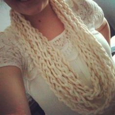 Chain crochet infinity scarf.  @Laurel Messerschmidt.